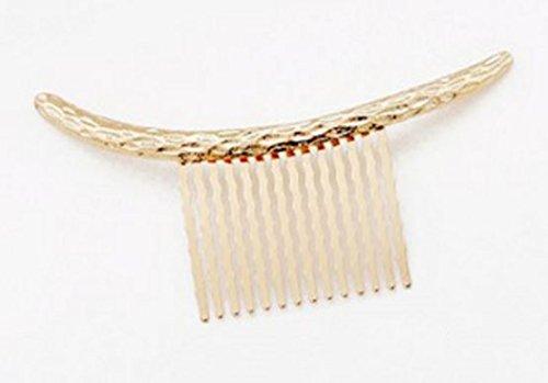 Joudai ゴールド シルバー アーチ型 ラインコーム 平面タイプ ヘアアクセサリー クレセントコーム髪飾り 髪留め SA-300 (ゴールド)