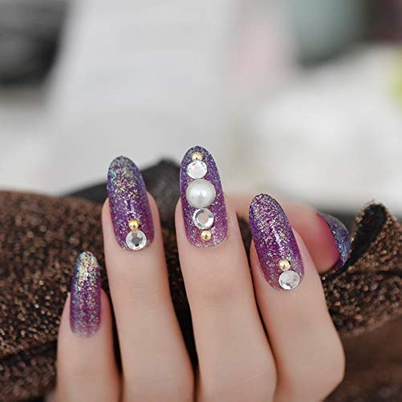 芽先例国籍XUTXZKA 指のタブのために装飾された長い楕円形のキラキラ偽の釘紫大