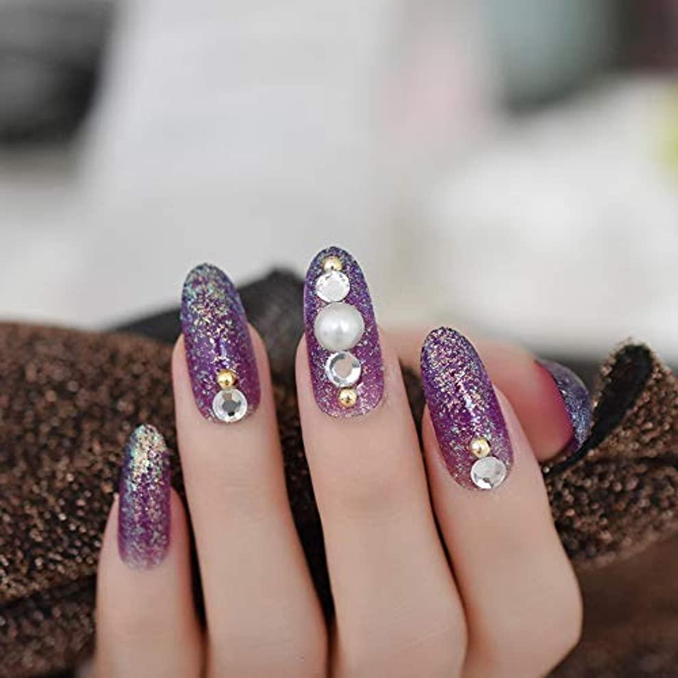 かまど掃く口頭XUTXZKA 指のタブのために装飾された長い楕円形のキラキラ偽の釘紫大