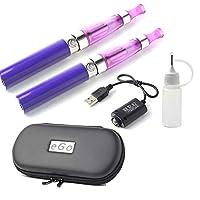 電子タバコ 本体 2本セット CE4 USB充電ケーブル2本 注入ボトル ケース 取扱説明書 ego VAPE 電子たばこ 禁煙グッズ 充電 パープル EGO-CE4SET-PR