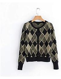 Hardy 女性秋の新しい短い幾何学的な印刷金属ワイヤーニットセーター