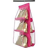 lool カバン 収納 クローゼット に 吊り下げ 鞄収納 バッグ 収納ラック 6個収納可能 ハンガー付 ピンク Wal-Ba-PK