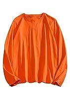 EFOFEI Tシャツ メンズ 7.2oz 長袖 綿 クルーネック 無地 軽い 柔らかい シルエット 無地 おしゃれ ファッション 人気 快適 薄手 春夏秋 オレンジ-M