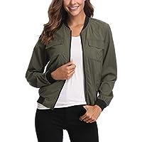 miss moly Women's Light Bomber Jacket Long Sleeves Multi-Pocket Zipper Up Casual Loose Biker Coat Windbreaker