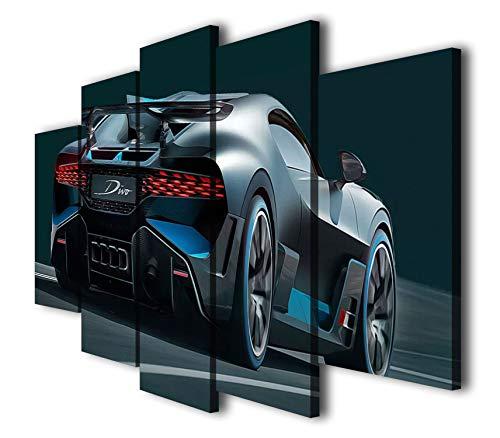 Mixi Art 5ピース ブガッティ・ディーボ レーシング スポーツ 車 プリント キャンバス 壁アート 写真 ホームデコ コンテンポラリーアートワーク 分割キャンバス SIZE 1: 8x14inx2pcs, 8x18inx2pcs, 8x22inx1pc.
