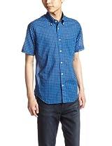 Voile Gingham Short Sleeve Butttondown Shirt 1216-218-1821: Cobalt