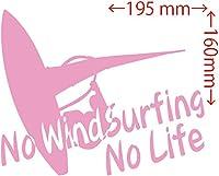 カッティングステッカー No WindSurfing No Life (ウインドサーフィン)・1 約160mm×約195mm ピンク 桃