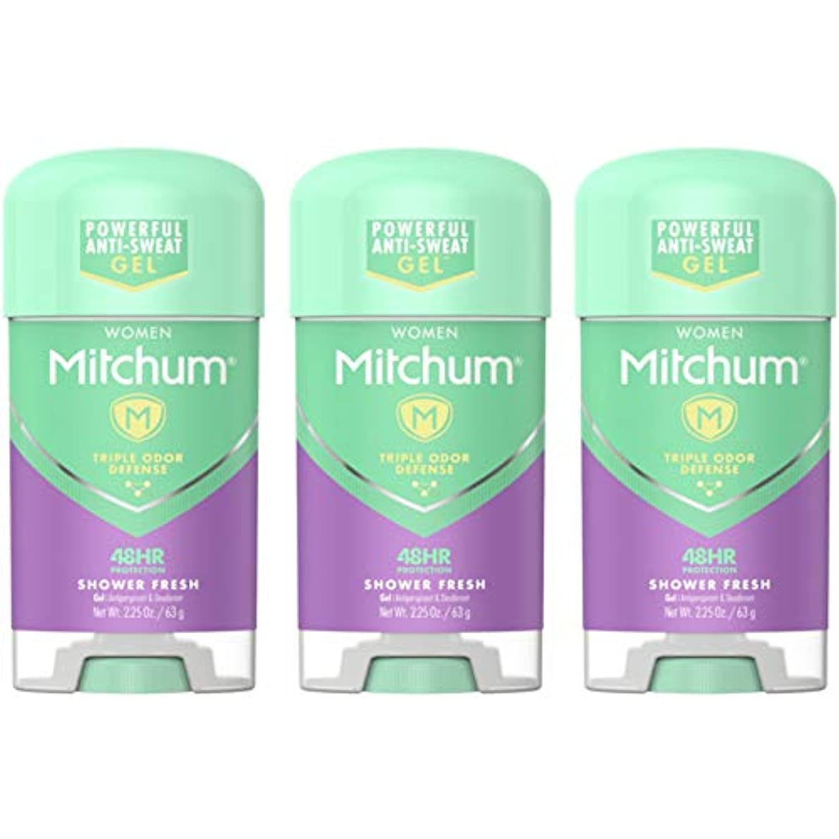 有能な計算イヤホンMitchum Deodorant Womens Gel Shower Fresh 2.25oz (3 Pack) by Mitchum For Women