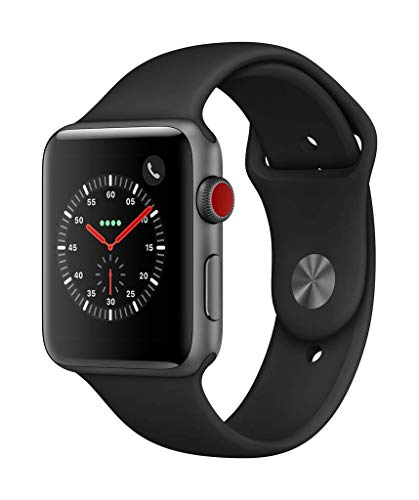 Apple Watch Series 3(GPS + Cellularモデル)- 42mmスペースグレイアルミニウムケースとブラックスポーツバ...
