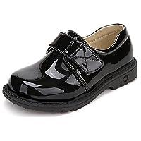 [Cozy Maker] C&M 子供 ローファー 男の子 女の子 フォーマルシューズ レースアップ エナメル風 軽量 履き心地良い 通学 入園式 七五三 マジックテープ 紐靴 (35(内長22cm), TYPE-H)