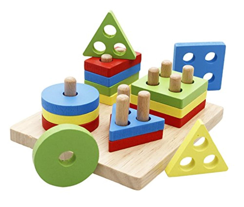 Lewo木製パズル幼児教育玩具形状ソーターPreschool幾何ブロックStacking Games for Kids