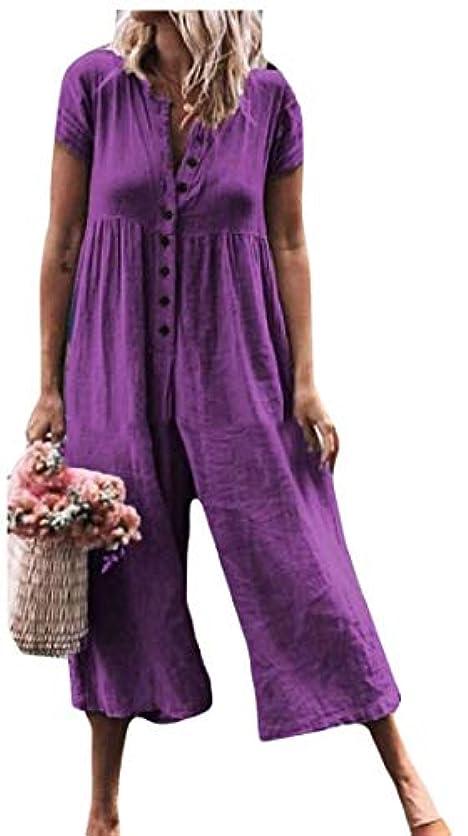 やろう機転下に向けますYYG Womens Cotton Linen Wide-Leg Button Down Solid Color Cropped Pants Trousers Short Sleeve Jumpsuit Romper