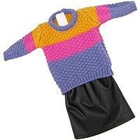 Lovoski  人形 かわいい 長袖 セーター トップ PUレザー ドレス セット 18インチアメリカンガールドール対応 装飾