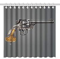 ビンテージレトロ銃オールドリボルバー-クールなコルトシャワーカーテンChホーム装飾ポリエステルバスカーテン12フック 165X180 CM