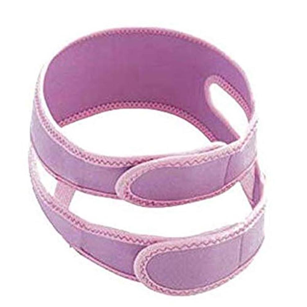 弾性カウンターパート月面HUYYA ファーミングストラップリフティングフェイスリフティング包帯、V字ベルト補正ベルト ダブルチンヘルスケアスキンケアチン,Purple_Large