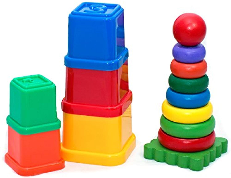 tulatoo赤ちゃんと幼児用木製虹タワーand Stackingカップ – 理想的な教育玩具Sensory再生
