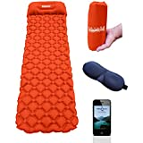 Ultralight Inflatable Camping Mattress with Built in Pillow | Bonus Sleep Mask Included | Blow Up Air Bed | Hiking Sleeping Mat | Travel Roll Up Bed | Durable Air Cushion Sleep Pad | Lightweight, Airtight, Waterproof 40D Sleeping Pad | Convenient, Compact & Easy to Carry Sleep Mat | Comfortable Sleep & Rest | No Pump, 5-15 Breaths | Bonus eBook | NATURE VENTURERS