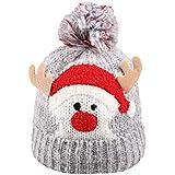 BESTOYARD クリスマス 暖かい 冬 ニット ウール ビーニー ハット クリスマス キュート 鹿 キャップ 赤ちゃん 子供 女の子 男の子用 (グレー)