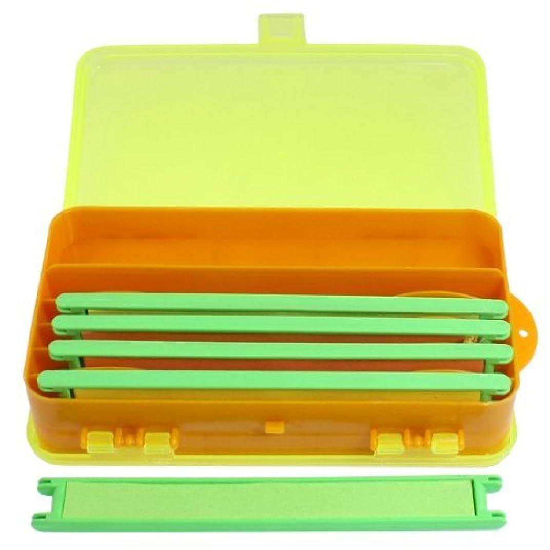 買収鉛裸5個釣りラインスプールボビン付クリアイエローオレンジプラスチック長方形のケース