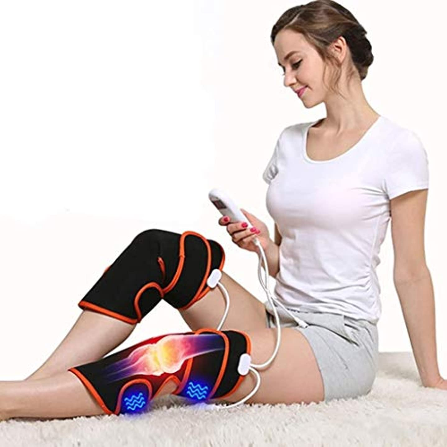 調整する言語学受取人レッグマッサージャー、膝用電熱パッド、9種類のマッサージモードと5種類の調整可能な温かい温熱療法