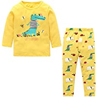 SODIAL New Children Boys Girls Dinosaur Print Sleepwear Sets Long Sleeve T Shirts Long Pants Cute Casual Homewear Cartoon Knitted Cotton Pullover Suits 2Pcs Yellow 2-3Y