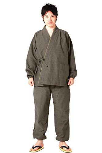 (キョウエツ) KYOETSU 冬 メンズあったか作務衣 中綿入り 紬風生地 裏フリース 16 (M, 樺茶)