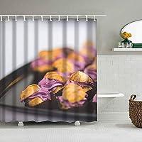 装飾のシャワー・カーテンの多彩な大胆な設計、生地の浴室の装飾セットフック180 * 200 cm、マルチ 304. 紫色のクリームとクッキー