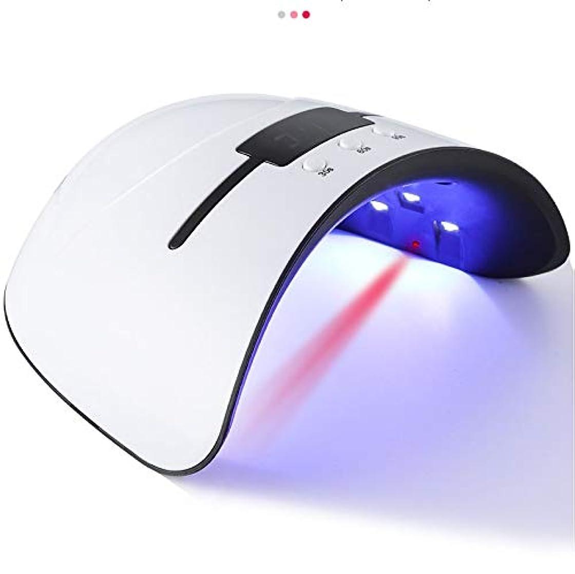 不調和本質的ではない付き添い人3タイマーオートセンサーLEDデジタルディスプレイUSBプラグ付きジェルネイルポリッシュネイルドライヤー養生ランプ用LED UVランプは、便利なキャリー (Color : 白)