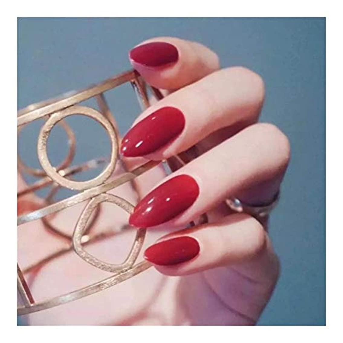 インクラダマキシムHOHYLLYA リムーバブル服ヒント長いセクション明るい赤ネイルネイルグルーフェイク釘完成 (色 : 24 pieces)