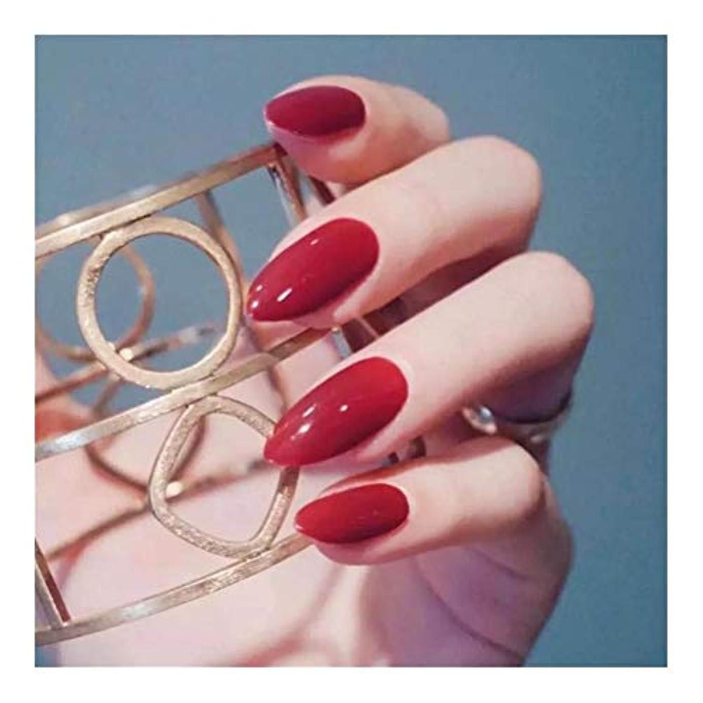 固有の鎖専門用語TAALESET リムーバブル服ヒント長いセクション明るい赤ネイルネイルグルーフェイク釘完成 (色 : 24 pieces)