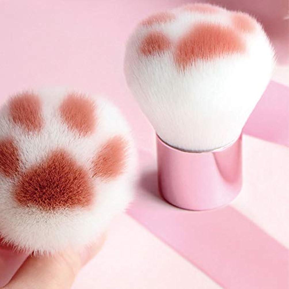 宿泊おもしろい高価な化粧ブラシ、ファンデーションブラシ、猫の爪形化粧ブラシ、カワイイファンデーションブラシ、バーチハンドルレーヨン化粧ブラシ美容化粧ツール (White)