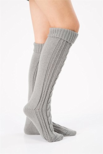 SherryDC Women's Cable Knit Long Boot Socks Over Knee High Winter Leg Warmers One Size Grey
