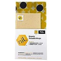 NIL 蜜蝋ラップ - 2パック Lサイズ オーガニックフードラップ フラワーデザイン 環境に優しい再利用可能な食品ラップ イエロー