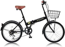 RayChell(レイチェル) 折りたたみ自転車  20インチ FB-206R シマノ6段変速 カゴ・泥除け標準装備 カギ・ライト付属 ブラック