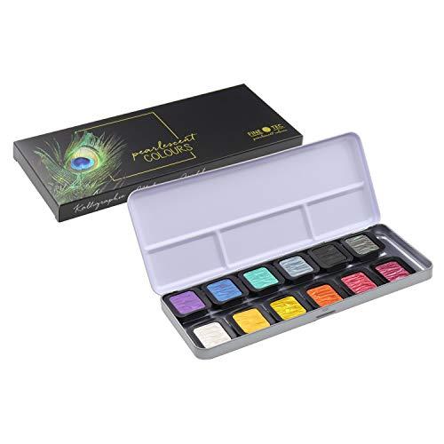 ホルベイン 水溶性固形絵具 ファインテック パールカラー 12色セット F1200 610603