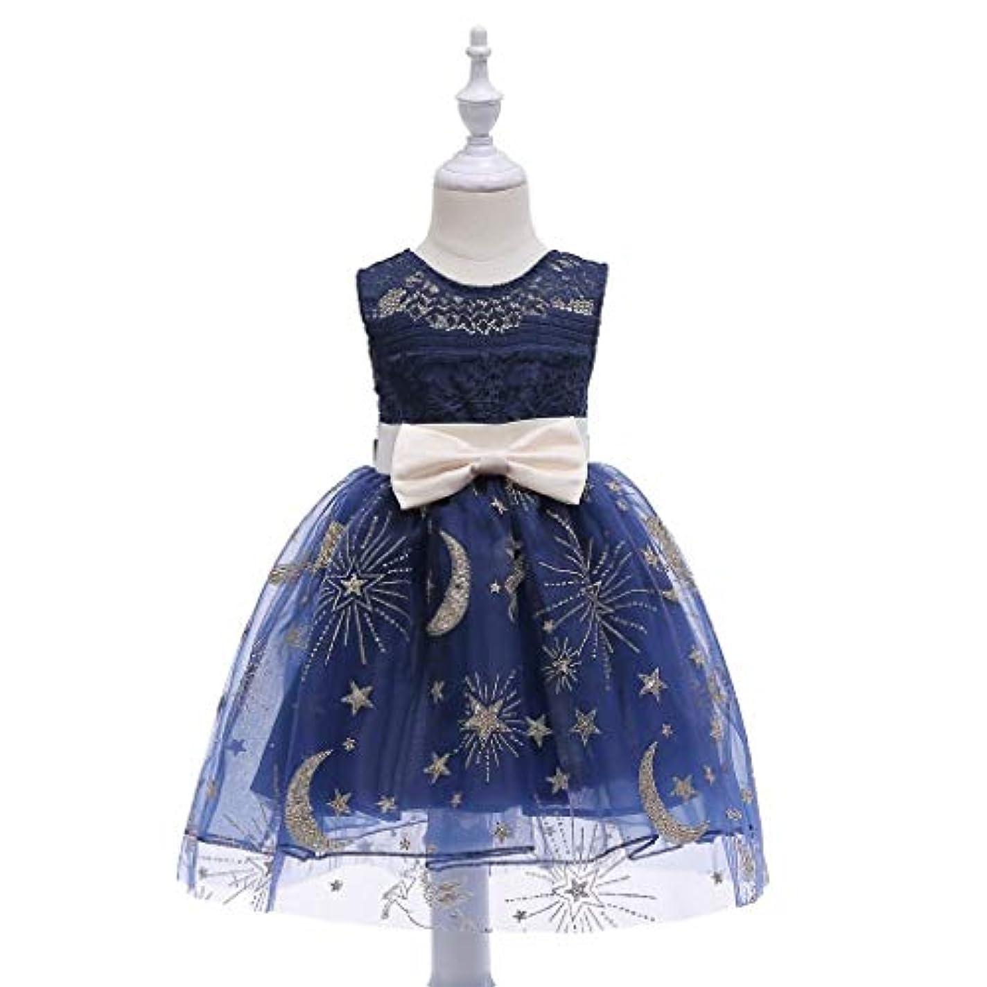 文献分配します明確にWASAIO ガールドレス幼児2-10歳青のためのレースの結婚式のパーティードレス (Color : Blue, Size : 150#)