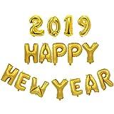 BESTOYARD 2019 HAPPY NEW YEARバルーン新年パーティーデコレーション数レターバルーン2019年パーティー用品16インチ