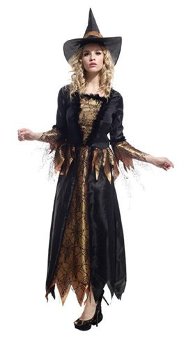 ブルーリフレイン (Bluerefrain) ハロウィン 衣装 コスプレ 仮装 ウィッチ 魔女 大人 ロングドレス ワンピース 帽子付 (タトゥーシール付き) (ゴールド)