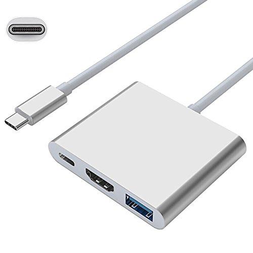 Anskp HDMI/USB3.0/Type-Cハブ 変換3in1 Type-C to HDMI/高速USB3.0ポート 変換アダプター 3ポート搭載 アルミニウム合金製 USB-C - HDMI変換アダプタ Type-C コネクタ MacBook proなど対応(シルバー)