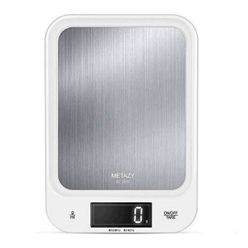 デジタルスケール キッチンスケール 5kg/1g g/ml単位切替 見やすいディジタル表示 耐熱長持ち 衝突防止オートパワーオフ 風袋引き機能 操作簡単 スタイリッシュで収納便利 料理作り、ダイエット、ペットフードの計量、郵便物の重さを確認に活躍 KC-001
