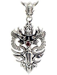 Jade Angel 男性の純銀製のウィートチェーンネックレスシルバーダブルドラゴンダガーアミュレット (20)