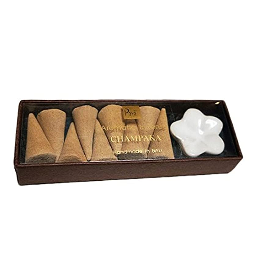まあ皮ますますチェンパカ お香セット【トコパラス TOKO PARAS】バリ島 フランジパニの陶器のお香立て付き ナチュラルハンドメイドのお香