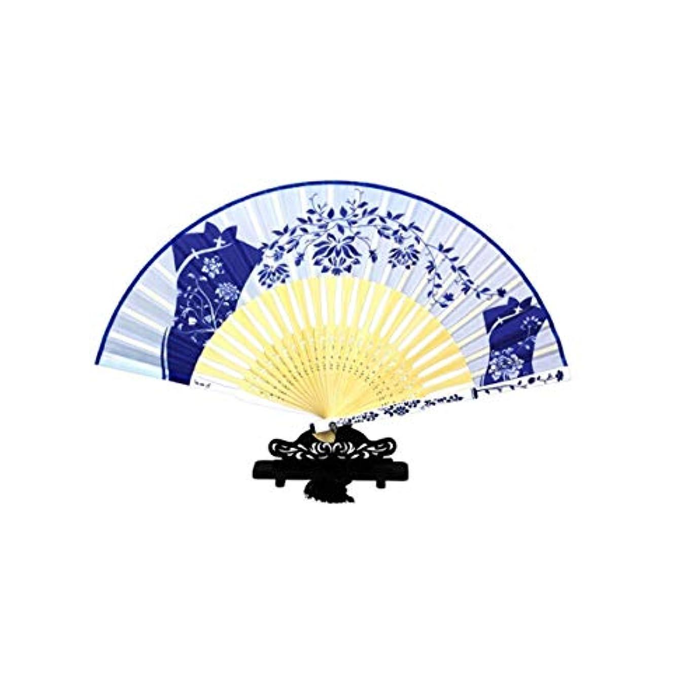 ジェームズダイソンゴミ箱を空にする完璧KATH 扇子、青と白の磁器のギフトファン、中国風のファン、扇子
