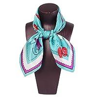 Koloeplf スクエアスカーフレディースプリントピンクソフト快適なスカーフシルクショール (Color : 5)