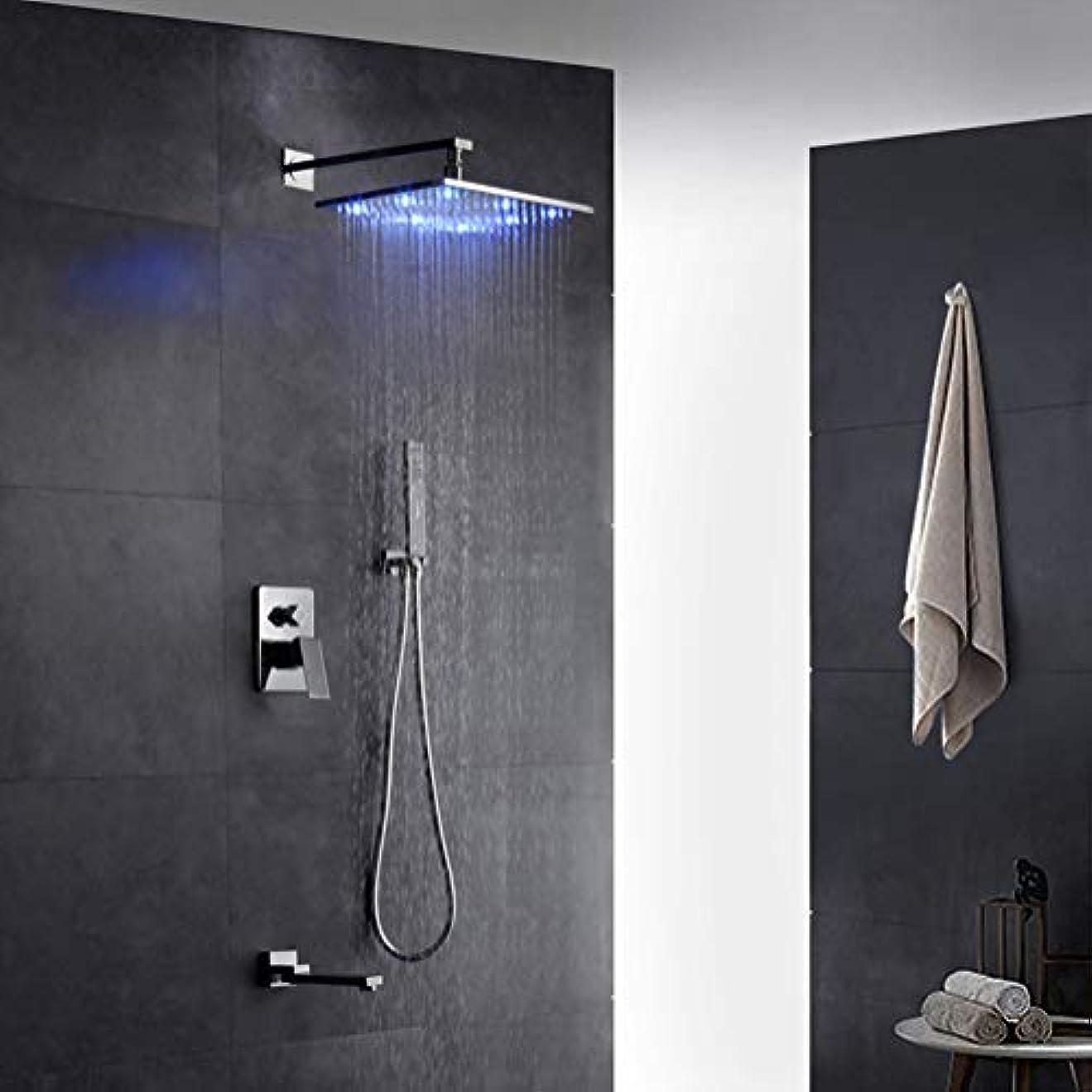 プラスプラットフォームフォアマンLEDシャワーシステム、LEDライトシャワー蛇口セットスクエアシャワーヘッド色を変更するハンドシャワーバスシャワーシステム蛇口蛇口インウォールミキシングバルブスイッチシャワーセット