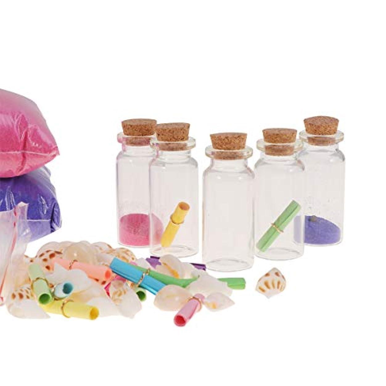 エキスオフコンベンションコルク栓で健康的なクリアミニガラス瓶diyウィッシュボトル巻き貝紙カラフルな砂メッセージ願いパーティーの好意92ピース