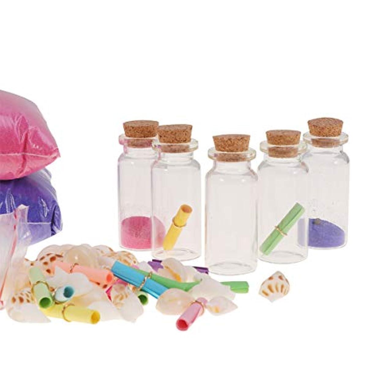 滑りやすいとんでもない以内にコルク栓で健康的なクリアミニガラス瓶diyウィッシュボトル巻き貝紙カラフルな砂メッセージ願いパーティーの好意92ピース
