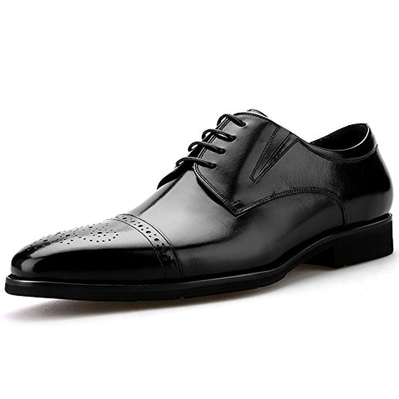 ランデブーお世話になった背景CHICONE(シックワン) メンズ ビジネスシューズ 革靴 レースアップ 外羽根 ウォーキング ブラック