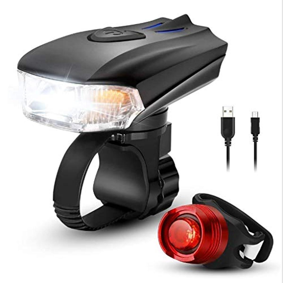 真夜中レーザジョガーAsDlg 自転車ライトセット、USB充電式LED自転車ヘッドライトテールライトフロントバック防水スーパーブライトセンシングリアライトインストールが簡単子供用道路安全サイクリング