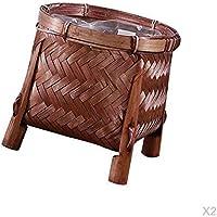 IPOTCH 手作り 竹 収納かご 4つの足 植物ホルダー バスケット 2個 美術工芸用品
